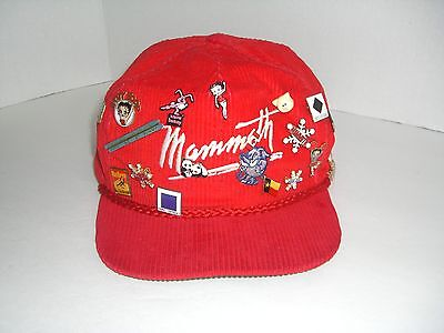VINTAGE CORDUROY MAMMOTH Mountain Ski Hat Red With 17 Pins -  55.00 ... 0991462cf41