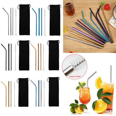 3xStainless Steel Metal Drinking Straw Straws Bent Reusable Washable + Brush