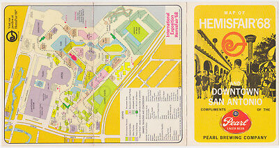 MAP OF HEMISFAIR '68 Downtown San Antonio Card Pearl Lager Beer 1968 Downtown San Antonio Map on