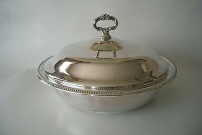 Antique Large Silver Plate Lidded Tureen Serving Dish Glass Insert USA Stunning