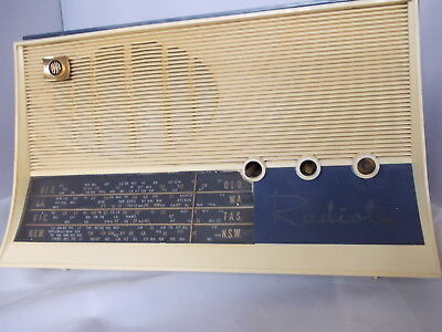 AWA Radio Model B15 Vintage 1960's Blue and White Working Order