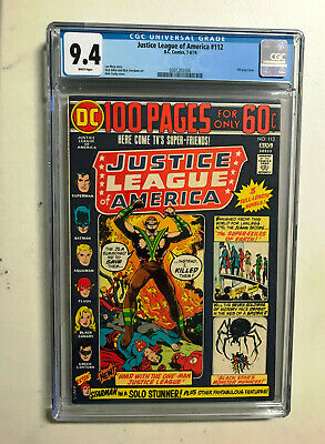 JUSTICE LEAGUE OF AMERICA #112 (1974) -- CGC 9.4 Blue Label -- 100 Page Giant