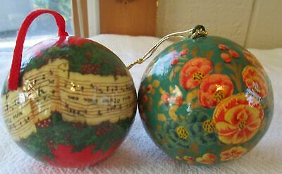 "Vintage 2.75"" Paper Mache Hand Painted Ball Christmas Tree Ornaments"