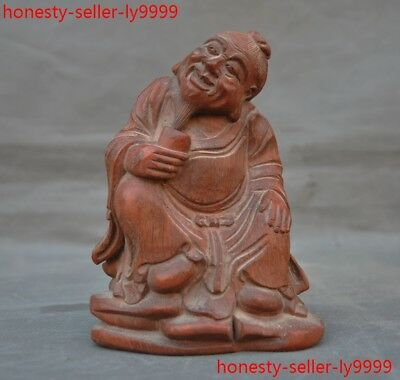 old China Bamboo root wood carving Antiquity Old man statue
