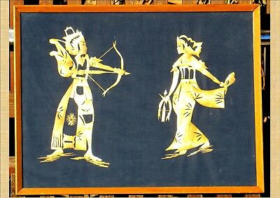 Vintage 1960/1970 Timber Framed Hand Crafted Asian Straw Art: Two Archery Oppone