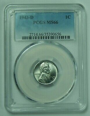 1943 D BU Steel Lincoln Wheat Cent Penny PCGS MS66 1c Unc Lot Coin US 656