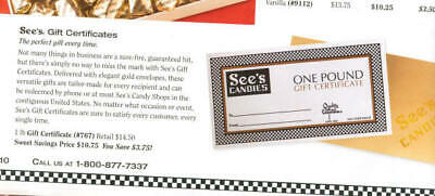 See's Candies One Pound Assorted Chocolates Gift Certificate FREE SHIPPING!