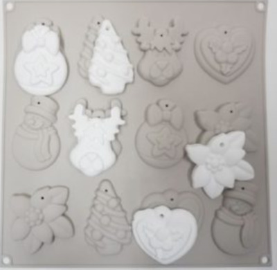 Christmas 12 Tablet Silicone wax Mould plaster Mold