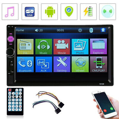 "7"" 2 Din Cars Stereo Auto Radio FM/MP5 Player Bluetooth HD 1080P Touch Screen TF"