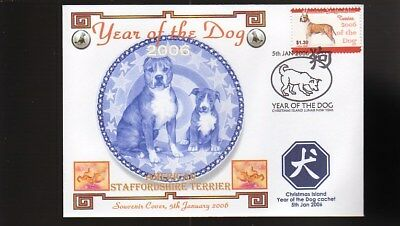 Year Of The Dog Stamp Illustrated Souvenir Cov, American Staffordshire Terrier 2