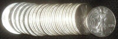 Full Roll of 20 1999 American Silver Eagle Dollar .999 Pure One Ounce Tube BU MS