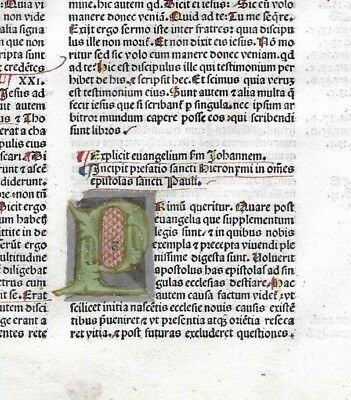 1RARE Leaf 1483 Incunabula Latin Bible + MULTI-COLORED Initials +Textual Variant