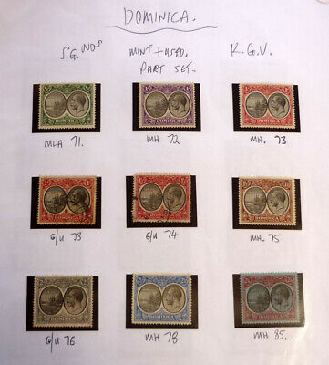 Lot Of 9 Old Dominica Stamps, Sg71-85 Mint & Used Kgv