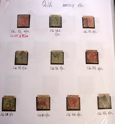 Lot Of 10 Old Cyprus Stamps, Qv Sg12-43, Mostly F/u
