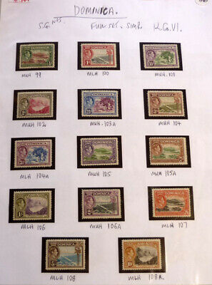 Lot Of 15 Old Dominica Stamps, Sg99-108 Full Set Mint Kgvi