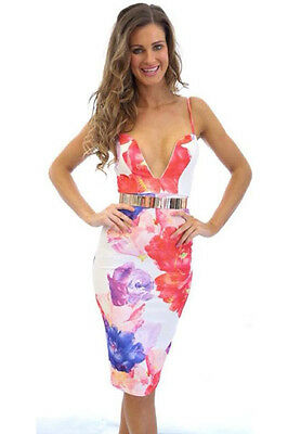 White Floral Party Dress Plunging Rainbow Watercolor Bodycon Cocktail Lrg 21852