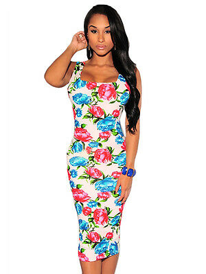 White Floral Bodycon Dress Pink Blue Casual Stretchy Classy Party Style 60062