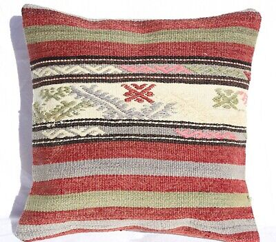 "TURKISH KILIM RUG PILLOW CUSHION COVER HAND WOVEN WOOL 16"" x 16"""
