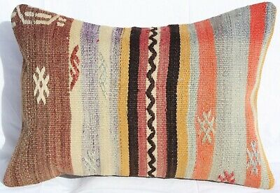 "TURKISH KILIM RUG LUMBAR PILLOW CUSHION COVER HAND WOVEN WOOL 18"" x 13"""