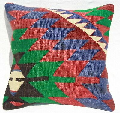 "TURKISH KILIM PILLOW 16"" x 16"", KILIM RUG CUSHION COVER, Geometric kilim pillow"
