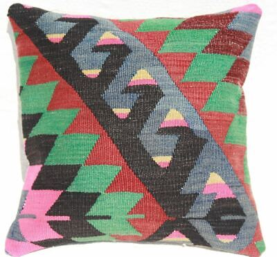 Turkish Kilim Pillow 16x16, Kilim Rug Cushion 16x16