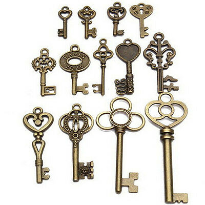 Set of 13 Antique Vintage Old Look Bronze Skeleton Key Fancy Heart Bow Pendant_Q