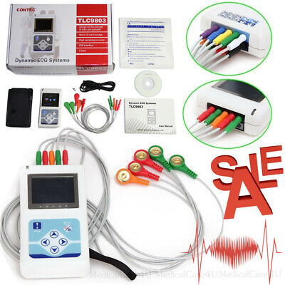 Handheld 24 Hours Dynamic ECG Holter 3 Channel EKG Recorder 12 Leads Software
