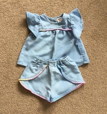 Baby SEED pom pom top + shorts 00 3-6 Months