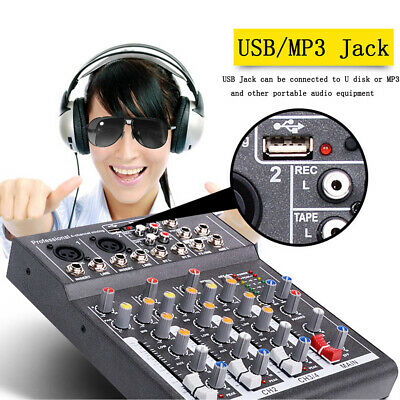 Mini Audio Mixer with USB DJ Sound Mixing Console 4 Channel 48V For Karaoke KTV