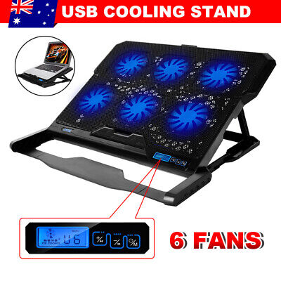 14-17in Laptop Cooler Pad Radiator LED 6 Fans CPU PC USB Hub Cooling Stand AU