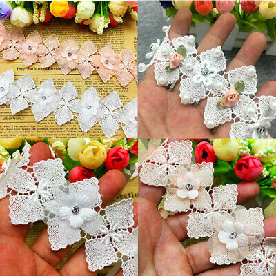 1 yd Soluble Cotton Flower Diamond Pearl Embroidered Lace Trim Ribbon DIY Sewing