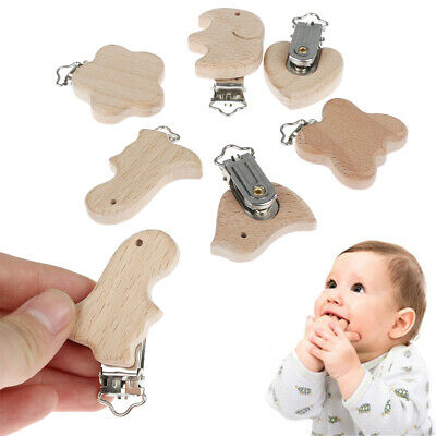 Wood  Natural Color Pacifier Clip Wooden Craft Dummy Holder DIY Pacifier Chain