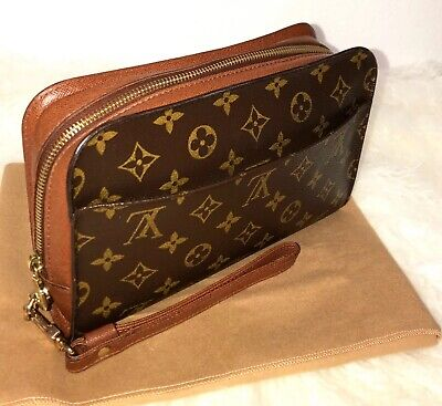 0c91e7757aa8 Authentic Louis Vuitton Monogram Wristlet ORSAY Clutch Bag w  Dust-bag  AR0917