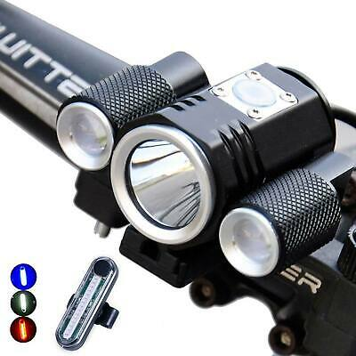 Bicycle T6 LED Front Torches Lamp Rear Light Kit Cycling Bike Warning Taillight