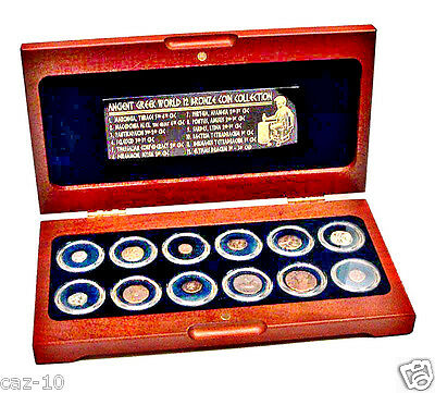 Ancient Greek World 12 Bronze Coin Collection In Beautiful Wood Presentation Box