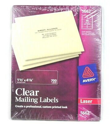 Avery 5662 Laser Clear Mailing Labels 700 Labels 1 13 X 4 18
