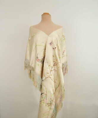 Antique Embroidered Pale Green Silk Shawl, Wrap, With Birds, Insects and Flowers