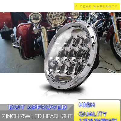 """7"""" Inch Motorcycle Projector Daymaker Headlight LED Light Harley Chrome Headlamp"""
