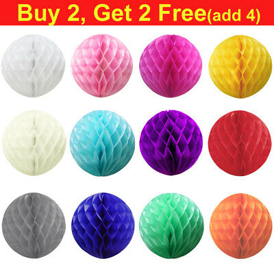 "4"" 6"" 8"" 10"" 12"" 14"" Honeycomb Paper Balls Lantern Tissue Pompoms Wedding Party"