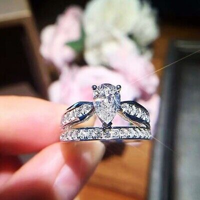 New 925 Silver Filled White Sapphire Birthstone Engagement Wedding Ring Size5-11