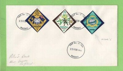 Bahamas 1970 Scout set on First Day Cover, Error on one stamp