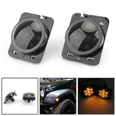 2x Front Fender Parking Side Marker LED Clignotant Pour Jeep Wrangler JK 07-15 ,