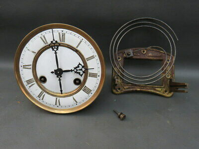 Vintage wall clock movement dial hands & gong for repair or parts