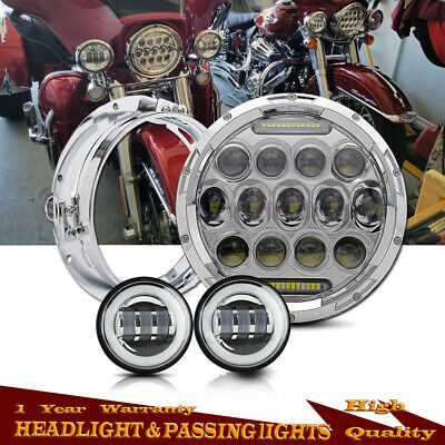 """7"""" Motorcycle Chrome Projector Daymaker Led Headlamp Passing Lights Ring Harley"""
