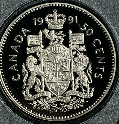 1991 BU Frosted Proof Canada Half Dollar from mint set 50 Cent 50c Canadian UNC