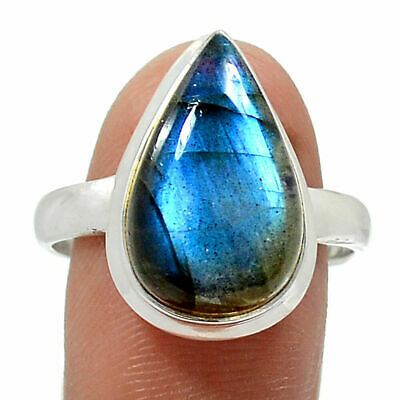 Stunning Peacock Blue Labradorite 925 Sterling Silver Ring Jewellery US Size 10