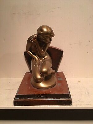 Vintage Antique ART DECO Style NUART Demure Nude Woman Naked Lady Single Bookend