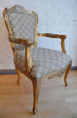 Mahogany Statement Antique Gold Leaf Gilt Ornate French Throne Carver Arm Chair