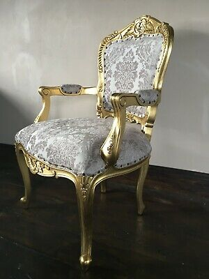 Statement Large Gold Leaf Gilt Champagne French Louis Throne Carver Arm Chair