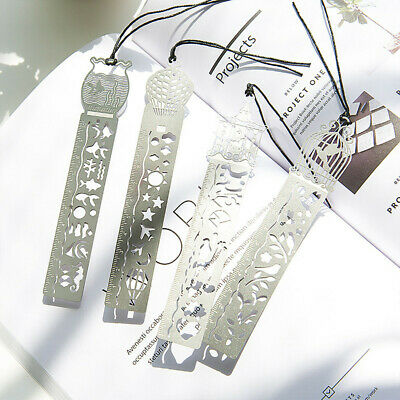 4 classical Hollow metal ruler bookmarks Sliver Ultra Thin Ruler Bookmarks
